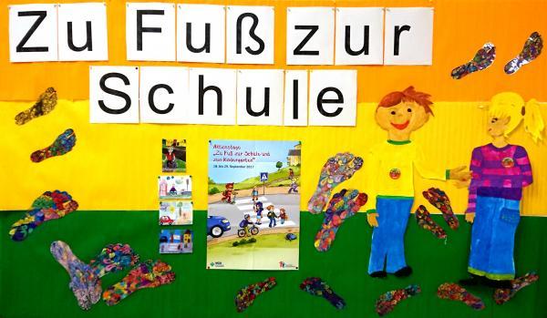 Plakat zur Aktionswoche »Zu Fuss zur Schule«